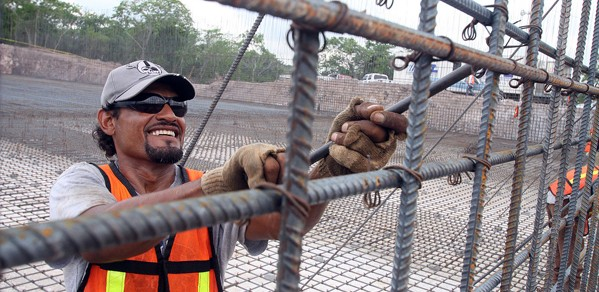 Worker assembling rebar for water treatment plant in Mazatlan, Sinaloa, Mexico.
