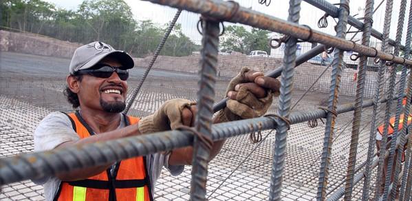 Worker assembling rebar for water treatment plant in Mazatlan, Sinaloa, Mexico.