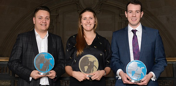 From left, Contractor Graduate of the Year Jonathan Knight, Consultant Graduate of the Year Charlotte Murphy, and Client Graduate of the Year Christian O'Brien.