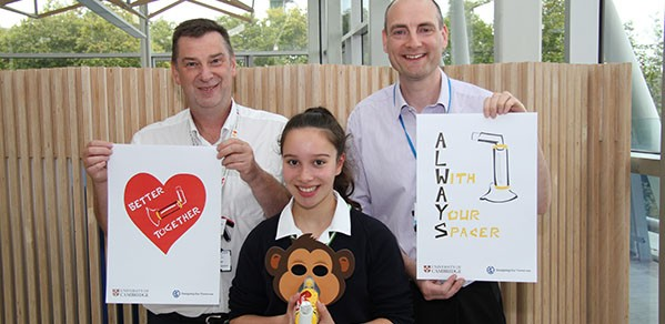 From left, Dr Richard Iles (Consultant in Respiratory Paediatrics at Evelina Hospital), Sascha Entwistle (Wimbledon High School winner), and Mr Ian Hosking, co-leader of DOT.