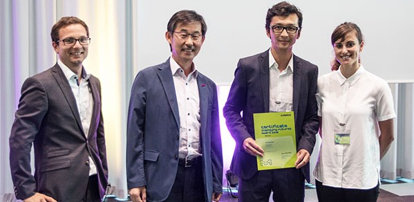 Ruizhi Wang (second right) and HexagonFab partner Dr Hannah Stern accept the award at Merck headquarters in Germany. Also pictured, from left, Tobias Helbich and Wookyu Kim from Merck.