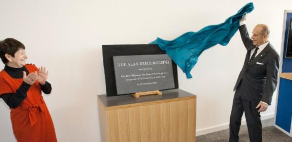 The Chancellor of the University of Cambridge, HRH Prince Philip, Duke of Edinburgh, unveils the plaque