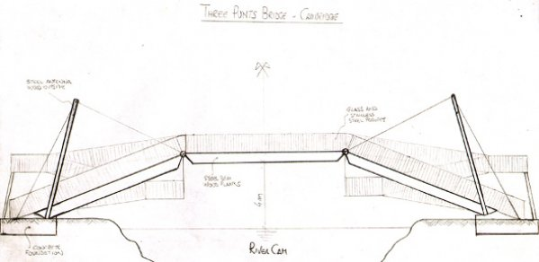 'The Three Punts Bridge', side view by Riccardo Nori, aged 8.