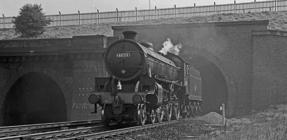 61159 running light engine near Potters Bar 15 Sept 1962