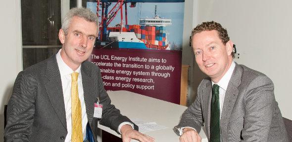 Minister of State for Energy Greg Barker with Dr Julian Allwood (left)