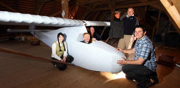 Dr Hugh Hunt in the rebuilt Colditz glider