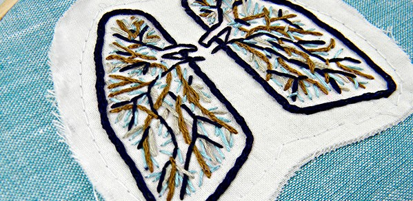 Blue and Brown Anatomical Lung Wall Decor.