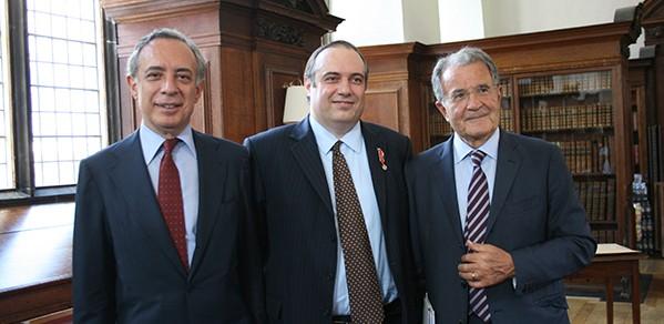 From left, Pasquale Terracciano, Ambassador of Italy to The United Kingdom, Professor Andrea Ferrari and Romano Prodi, former President of the European Commission.
