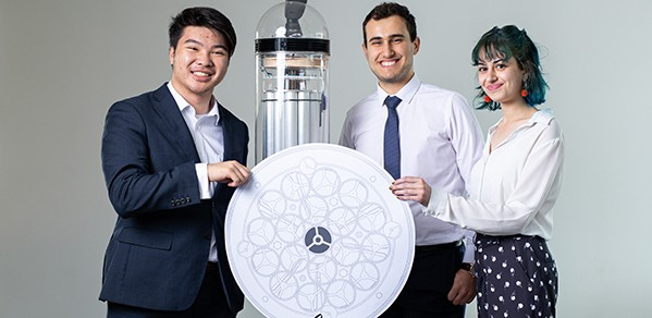 PuriFlow is an electrostatic precipitator designed to remove particulates from the air. Team (from left): James Lee, Darius Danaei and Sian Evans.