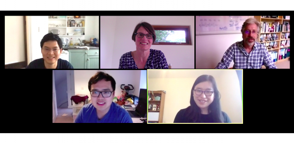 Speech task team, from left to right, top row:  Xixin Wu, Kate Knill, Mark Gales, bottom row: Yu Wang, Linlin Wang