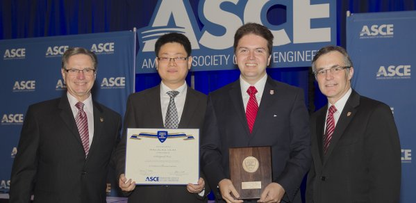 Presentation of Collingwood Prize to Ioannis Brilakis (third from left) and Zhenhua Zhu by Greg DiLoreto and Patrick J. Natale