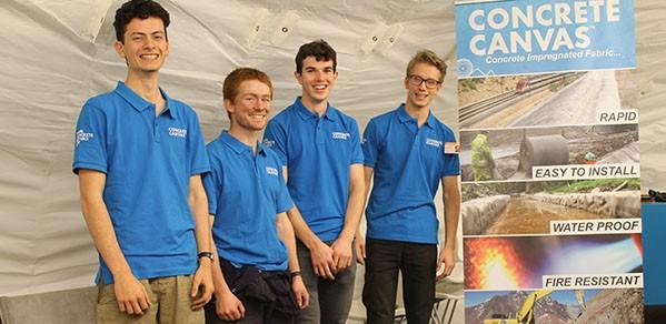 Taking part in the internship at Concrete Canvas, from left, undergraduates Alex Watson, Stuart Lewis, Tom Vinestock, and Joe Holland.