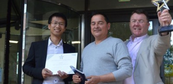 The CSIC winning team (from left) Dr Xiaomin Xu, Research Associate, Dr Cedric Kechavarzi, Operations Manager and Philip Keenan, Business Development Manager