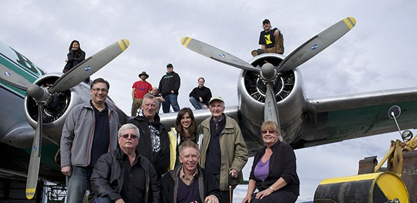 Dr Hugh Hunt (front, centre) with some of the cast and crew of the 2011 Channel 4 documentary, Dambusters: Building the Bouncing Bomb