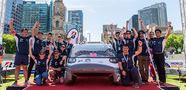 The CUER team with Helia at the close of the 2019 Bridgestone World Solar Challenge.