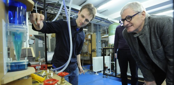 James Dyson with a student during a visit to the Department of Engineering