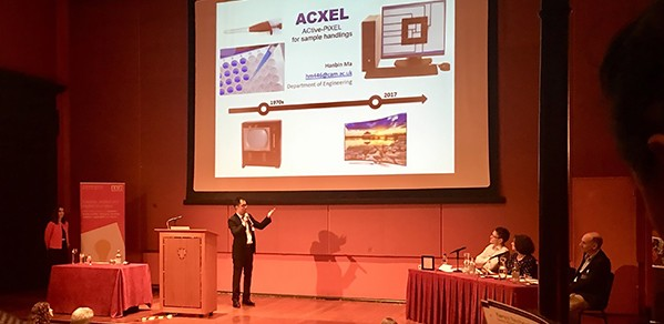 Dr Hanbin Ma during his pitch at the Postdoc Business Plan Competition grand finale.