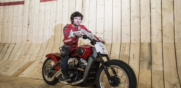 Guy Martin next to the Wall of Death