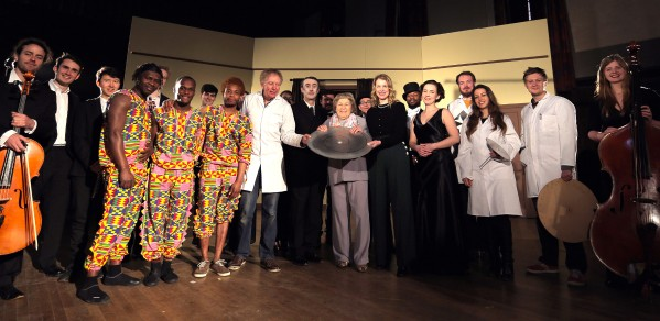 Dr Hugh Hunt, centre in white, with the cast and crew of 'Television's Opening Night: How the Box Was Born'