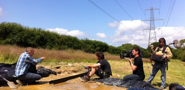 Dr Hugh Hunt (left) filming with Guy Martin