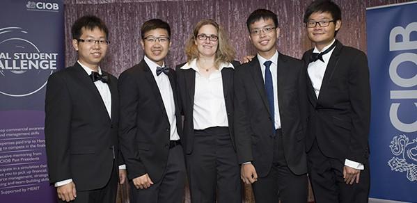 From left, team CUBE: Zhi Hao Kok, James Liew, industry tutor Niki Fanouraki, Julian Ting and Ziqing Liew.