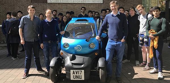 Front, from left, Dr Jeffrey Hawke, guest lecturer from Wayve, Professor Roberto Cipolla and Dr Richard Turner.