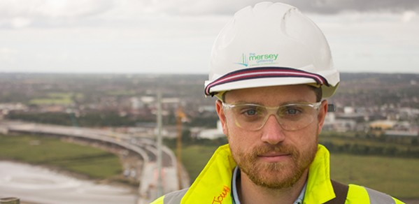 Johannes Whittam on the top of the South Pylon on the Mersey Gateway Bridge.