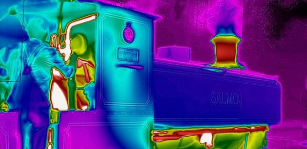Typical thermal image of steam train, showing hot chimney