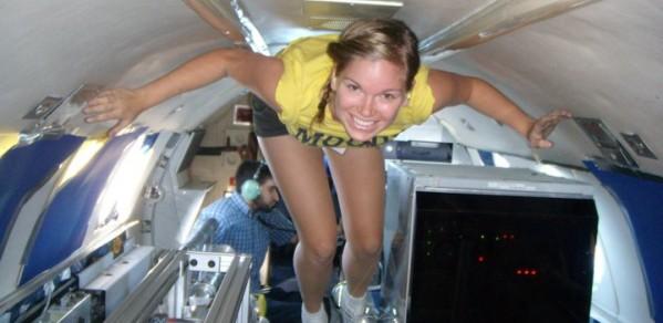 Jenni Sidey experiences microgravity on a parabolic jet
