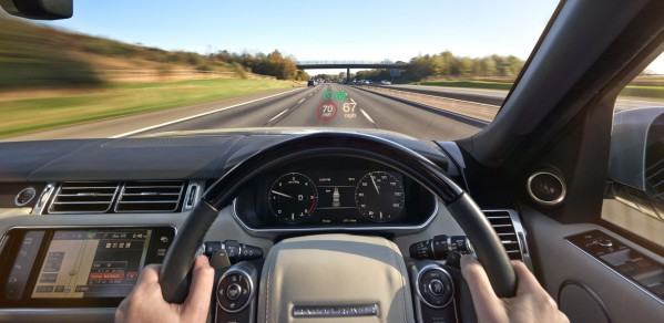 Head-Up Display (HUD) projects key driving information onto a small area of the windscreen