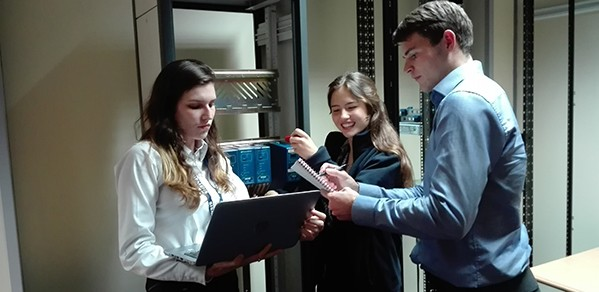 Kim (centre) during a training course on how to use the Siemens Fastflex processor modules.