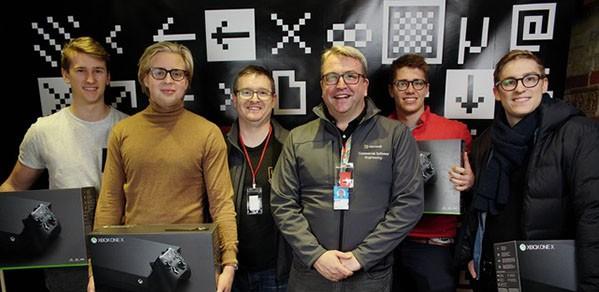 The team with their Microsoft prizes, from left, Luke Harries (UCL); Marcin Kolaszewski (Brown University); Filip Kozera (University of Cambridge), and Mateusz Staniszewski (Imperial College London)