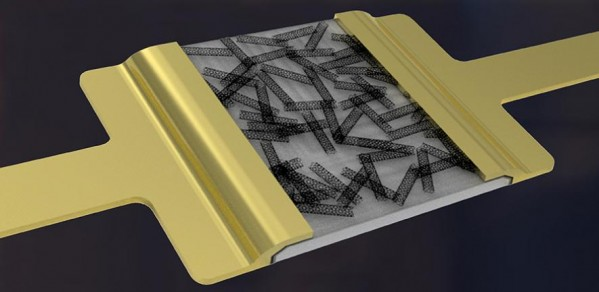 Artist's impression of a hybrid-nanodielectric-based printed-CNT transistor