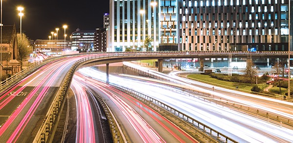 A long-exposure shot of traffic on the motorway.