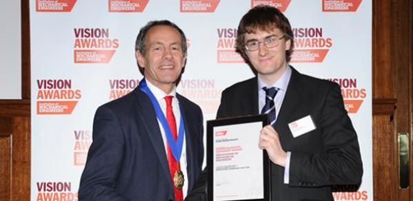 Ross Henrywood (right) receiving his award from IMechE President Patrick Kniveton.