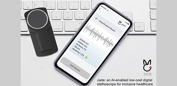 Invented during the COVID-19 pandemic, Jade is an open-source, low-cost, AI-empowered telehealth product for public health.