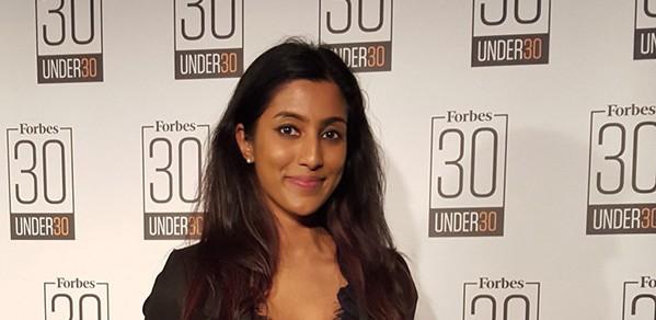 Sakthy Selvakumaran on the Forbes 30 under 30 list