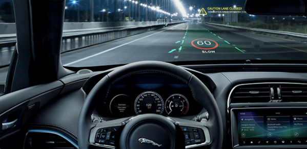 Driver's side showing the 3D head-up display projecting safety alerts, such as lane departure, hazard detection, and sat nav directions, onto the road ahead using augmented reality.