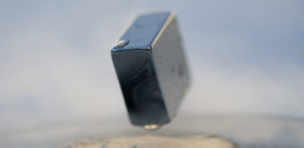 Levitation of a magnet on top of a superconductor of cuprate