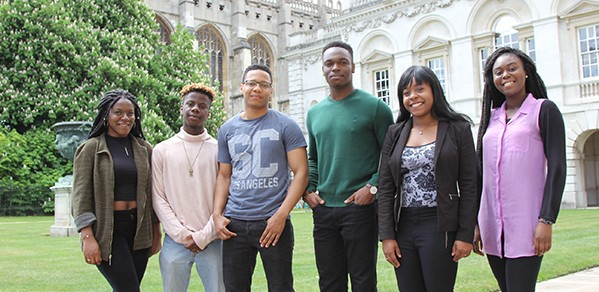 Undergraduates via Target Oxbridge (L to R): Timi Sotire, Bez Adeosun, Michael Harvey (Engineering), Daniel Oluboyede, Leah Grant and Fopé Jegede.