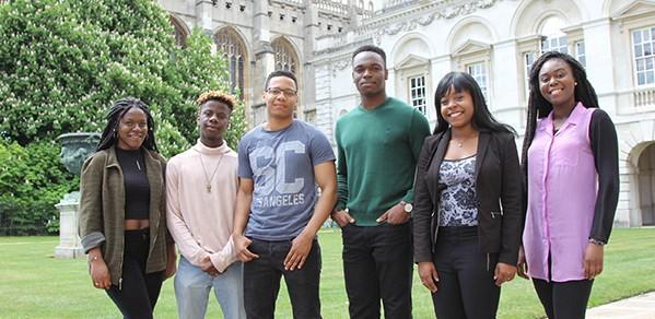 Undergraduates via Target Oxbridge (L to R): Timi Sotire, Bez Adeosun, Michael Harvey (Engineering), Daniel Oluboyede, Leah Grant and Fopé Jegede.