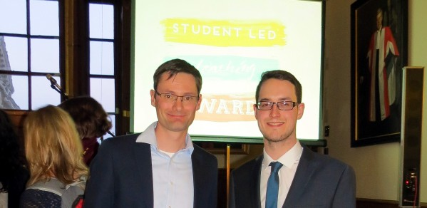 Dr Richard Turner, left, presented with the award by Rob Richardson, Cambridge University Student Union Education Officer