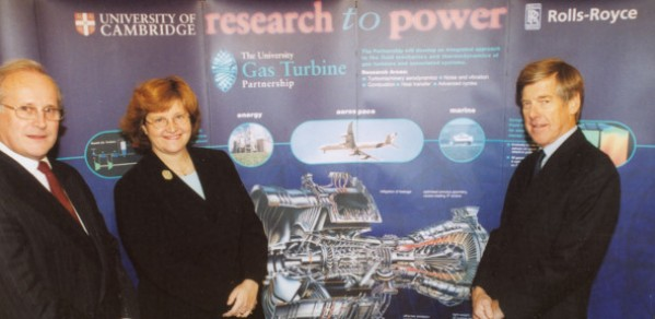Phil Ruffles (Director of Engineering and Technology for Rolls Royce), Ann Dowling and Vice Chancellor Alec Broers at the inauguration of the new University Gas Turbine Partnership.