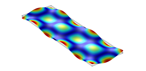 Comb maker: Forced vibration of a thin wafer shows regions of minimum (dark blue) and maximum (red) oscillation. At the maxima, the oscillation spectrum takes the form of a frequency comb.