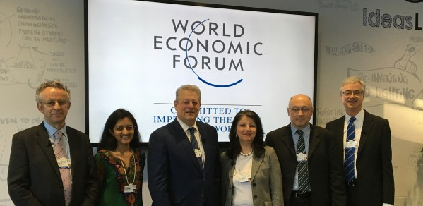 From left, Richard Friend, Suchitra Sebastian, Al Gore, Abir Al-Tabbaa, Markus Kraft and Jim Leape at the World Economic Forum Annual Meeting in Davos