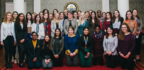 Baroness Brown, centre, middle row, with engineers and undergraduate students at the Women in Aerospace Dinner.