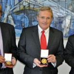 Paul Fidler, Dr Campbell Middleton and Professor Kenichi Soga with their Telford Medals