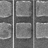 Electron micrograph of nanofabricated magnetic nanostructures
