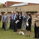 Staff gather at the launch of the new turbine