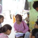 Priti Parikh collecting data in the slum settlement of Sanjaynagar, Ahmedabad city, India